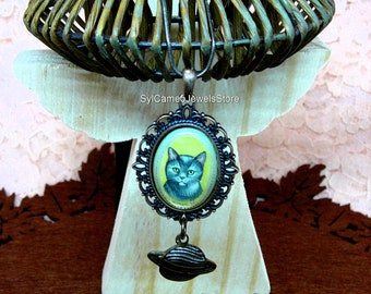 Hand Painted Korat Cat Cameo Pendant Dangle Saturn Planet Charm Necklace Original Art Jewelry Mother Of Pearl SylCameoJewelsStore