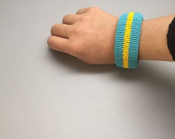 turquoise and yellow handmade beaded bracelet