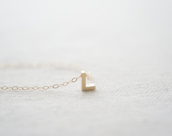"""Gold Letter, Alphabet, Initial capital """"L"""" necklace, birthday gift, lucky charm"""