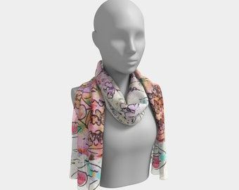 Floral Scarf Long Scarves Pastel Printed Scarf Chiffon Scarves Fashion Scarf Summer Scarf Delicate Scarf Lightweight Scarf Gift for Her Wife