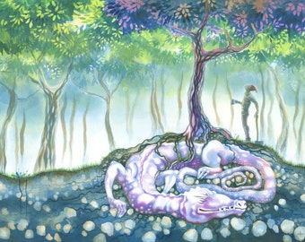 The Red Tree - art print by Nancy Farmer