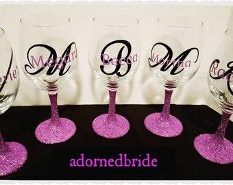 Glitter wine glass set sale, one color per set