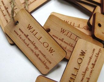 50 - 1 x 2 Custom Wood Tags - Custom Engraved Tags - Wood Gift Tags