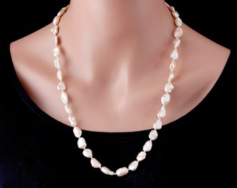 Natural Pearl Necklace, Baroque Pearl Necklace, Real Pearl Necklace, Peach Necklace, Sterling Silver Jewelry, Handmade Beaded Jewelry