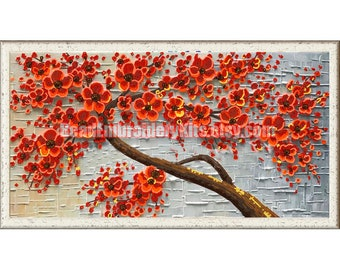 Red Flowers Tree DIY bead embroidery kit beading sewing needlework needlepoint set housewarming gift idea