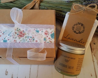 Lavender Gift Set, Natural Skincare Gift Box, Handmade Soap, Skin Salve