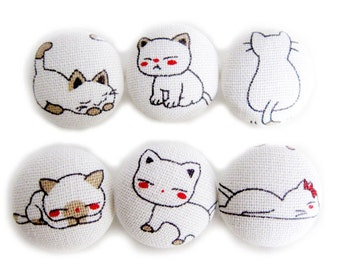Cat Buttons Sewing Buttons / Fabric Buttons - 6 Large Fabric Buttons Set - Cat Expressions