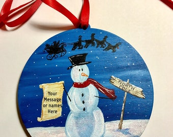 Family Christmas gift idea - Grab bag Gift - Gift under 20 - Personalized ornaments - Hand painted - Custom names - Gift for her - snowman