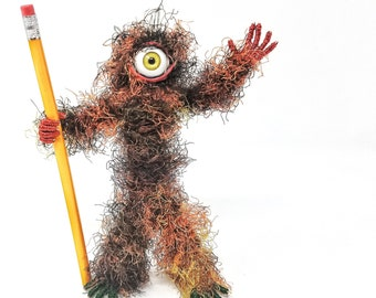 Spiked Cyclops - Bendable Copper Wire Creature - fun, unique, fully poseable! Hand-made out of recycled & repurposed materials.