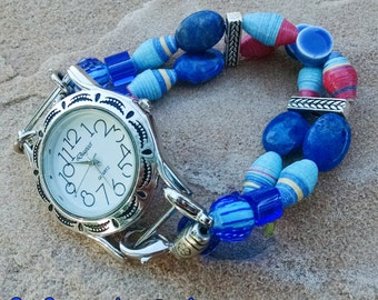 Shades of blue interchangeable watch band with choice of faces