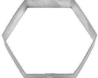 "Hexagon Cookie Cutter, 3"", hexagon plaque cookie cutter, Soccer ball fondant cutter, soccer cake cutter, soap cutter, clay, sign"