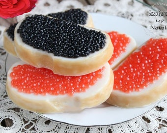 Sandwiches with Red or Black Caviar. 1 Bar of Soap You Pick. Food soap,Party Favor, Fun soap,Kids Soap.Shea butter, Glycerin, Coconut oil.