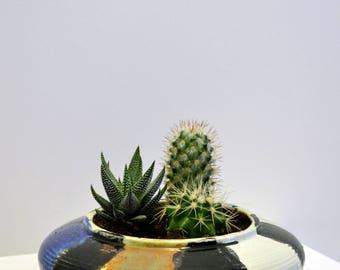 Vintage handpainted round ceramic succulent planter