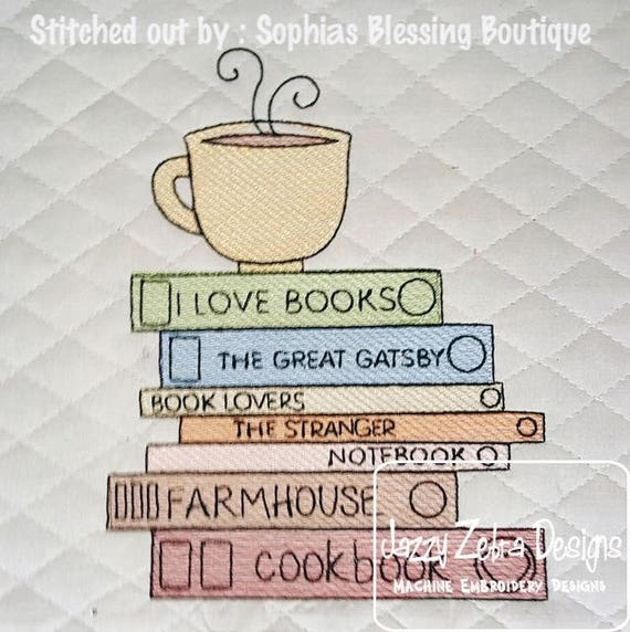I love books stack with coffee cup sketch embroidery design - book embroidery design - reading embroidery design - reading sketch design
