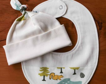 Camping Baby Hat and Drool Bib Gift; Nature Baby Cap, Teething Bib for Boy, Girl; Handmade Organic Cotton Gift for Outdoors Family, Camp Out
