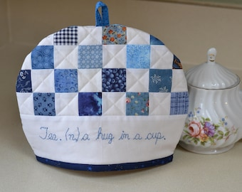 Blue and White Tea Cosy, Country patchwork tea cozy, 4 cup tea pot cozy
