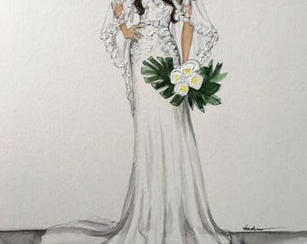 Bridal custom fashion illustration/wedding drawing