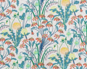 SS18 Liberty fabric  Tana Lawn Alpine Pasture 5x10'' scrap -  dark green/yellow/red - NEW The Alpine Symphony Collection
