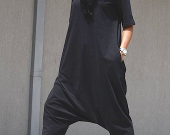 Jumpsuit for plus size women, black romper, oversized hijab, maxi clothing, floor length jumpsuit, mid sleeves black romper, large size