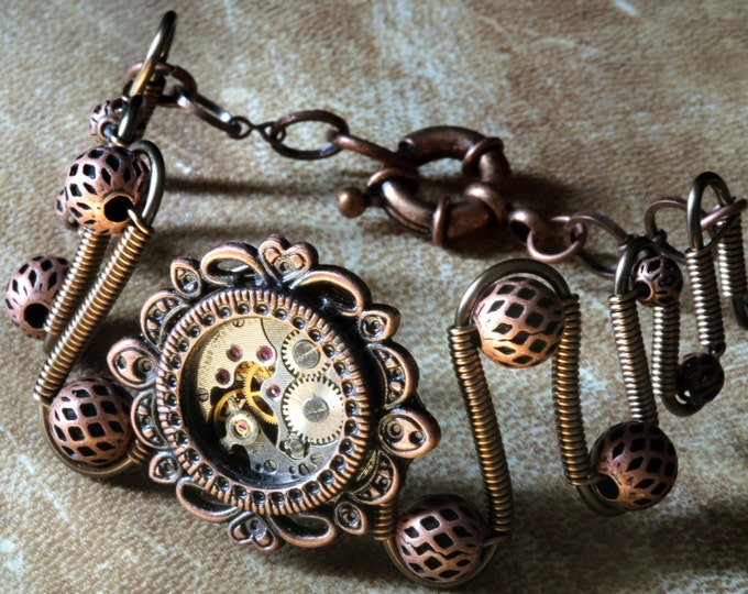 Steampunk Jewelry - Bracelet with antique watch movement - Copper