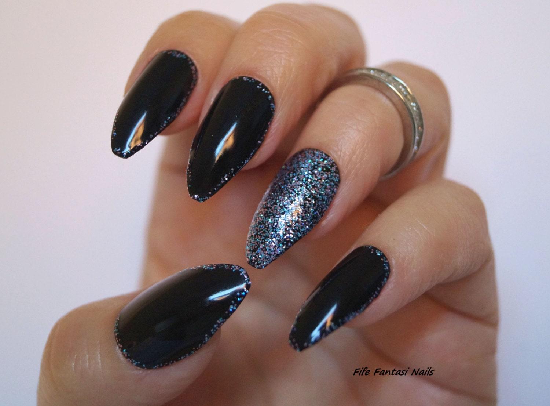 Black coffin nails bling nails nail design nail art gothic zoom prinsesfo Gallery