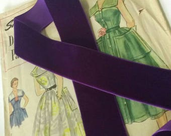 """Dark Purple Velvet Ribbon for Bows, Floral, and Millinery 1.5"""" 38mm"""