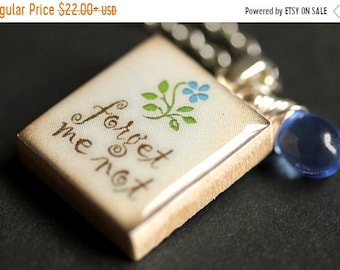 MOTHERS DAY SALE Scrabble Tile Necklace. Forget Me Not Charm Necklace with Blue Teardrop. Scrabble Pendant. Forget Me Not Scrabble Necklace.