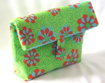 Green Cosmetic Bag, Makeup Bag, Purse Organizer, Clutch Purse, Fabric Bag, Handmade Bag, Floral, Toiletry Bag