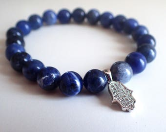 Hamsa bracelet , Sodalite bracelet , protection bracelet , beaded bracelet woman , healing bracelet, sodalite woman , hamsa jewelry
