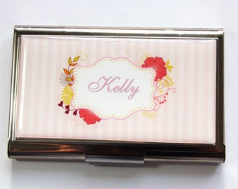 Personalized Business Card Case, business card holder, Custom Case, card case, Personalized, stainless steel, Pink, stripes (3532)