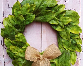Magnolia Wreath-Spring Wreath-Spring Front Door Wreath-Fixer Upper-Magnolia Door Wreath-Farmhouse Wreath-SOUTHERN MAGNOLIA Door Wreath