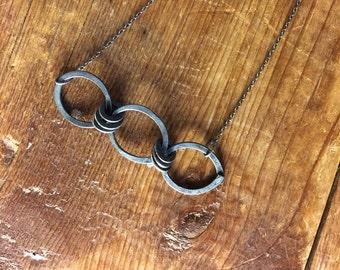 Aster * Oxidized Silver Necklace Artisan Silver Link Necklace, Blackened Sterling Silver Necklace