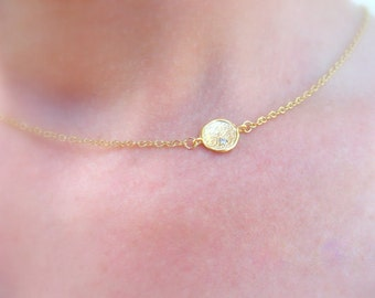 Gold Disc Necklace, Bridesmaids Gift Necklace, Minimalist Necklace, Delicate Gold Necklace, Jewelry Gift, Gold Necklace Simple Gold Necklace