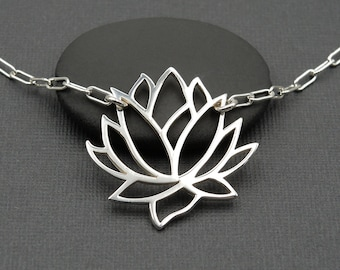 Silver Lotus Necklace Lotus Flower Necklace gift for her yoga jewelry lotus jewelry mothers day gift sterling silver necklace