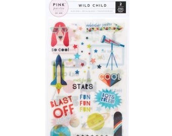 BOY/GIRL wild child pink paislee rub ons