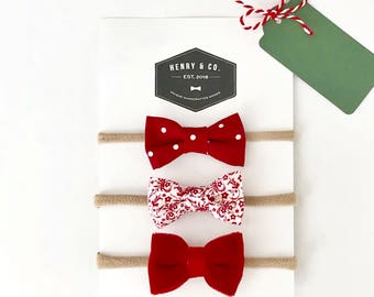 Christmas Set of 3 Bows