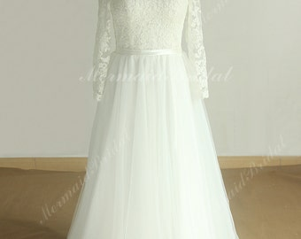 Romantic flowy tulle lace destination wedding dress with keyhole back and long sleeves