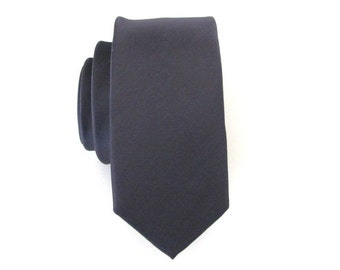 Mens Tie Charcoal Gray Skinny Necktie With *FREE* Matching Pocket Square Set