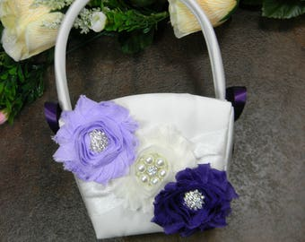 Flower Girl Basket, Wedding Flower Basket, Lavender and Purple Flower Basket, Pearl and Crystal Rhinestone Wedding Basket YOU PICK COLORS