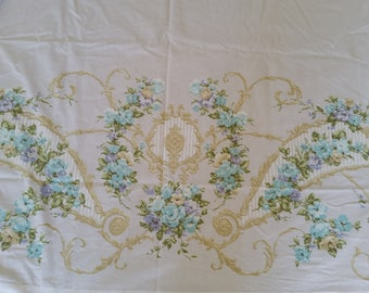 Full Size Floral on White Percale Flat Sheet