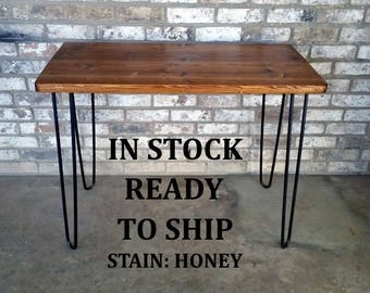"Desk, 39""Lx20""Wx30""H, Dorm desk, reclaimed wood, hairpin legs, in stock, ready to ship"