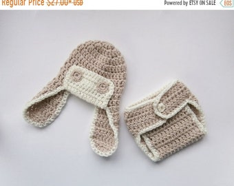 ON SALE 15% SALE Crochet Newborn Outfit - Baby Boy Aviator Hat and Diaper Cover Crochet Outfit  -Newborn Baby Boy