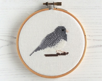Cross stitch bird, dark eyed junco, small cross stitch bird, bird embroidery design, North American birds, small bird pattern
