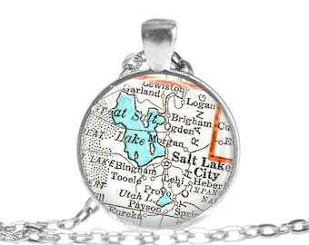 Salt Lake City Utah map necklace, Utah necklace, Salt Lake City Map Jewelry charms, Long Distance Girlfriend Gift, Map of Utah, A301
