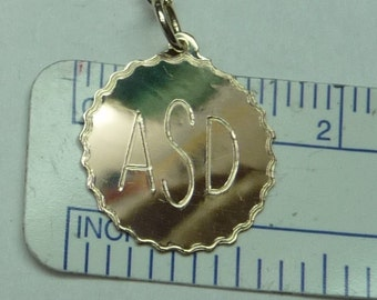 engraved  disk necklace, 14k solid gold.disk24