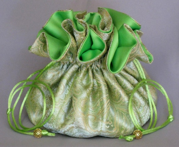 Jewelry Travel Tote---Green & Gold Paisley Satin Brocade---Organizer Drawstring Pouch---Large Size