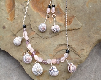 Snail Shell Jewelry Set - Earth Magick Earrings Necklace - Protection Energy - Pagan - Tribal - Witchcraft - Woods Witch - Animal Magick