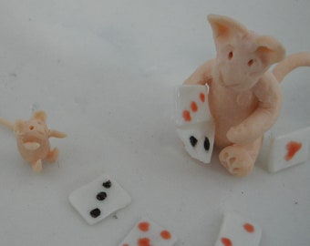 playing cards - porcelain story bowl in gift box -  ginger cat and mouse