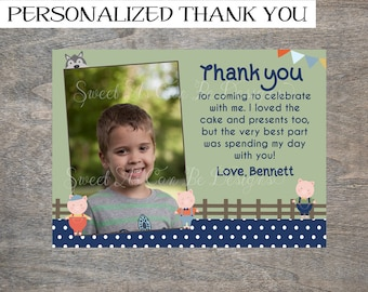 Three Little Pigs Thank you card with photo | Birthday Farm Storybook 3 Huff and Puff Big Bad Wolf Printable