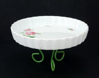 Vintage Fluted Quiche Dish with Pink Roses and Tripod Base by Christineholm (c.1980s) - Unique Easter Egg Holder